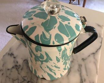 Turquoise/Aqua Enamelware Coffee Pot
