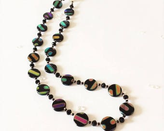 Black and Rainbow Disk Necklace