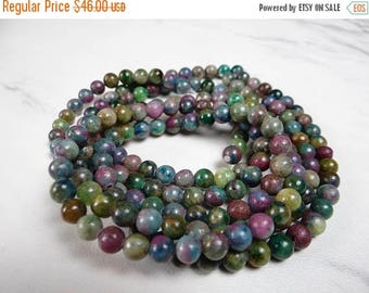 76% Off Sale--- Ruby fuschite smooth round beads/6mm /15 inch strand