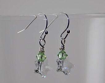 Swarovski Crystal Stars,Swarovski Crystals, light green,silver wire, very petite dangle
