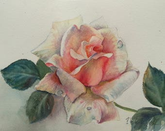 Light Rose Flower - Original Watercolor Painting