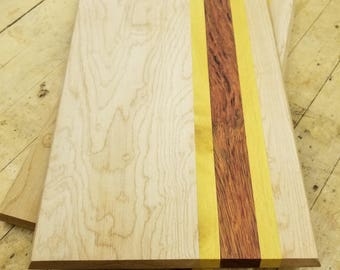 Wood Cutting Board with Maple, Yellowheart & Bloodwood.