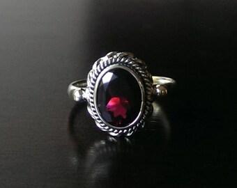 Garnet ring - birthstone ring - boho ring - vintage ring - promise ring - January birthstone jewelry - gemstone ring - free shipping