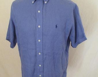 Linen Ralph Lauren blue size M shirt to-67%