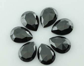 Natural lot of 10 pcs Black Onyx pear shape  rose cut gemstone for women jewelry for sale