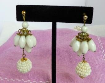 Vintage White Beaded Chandelier Earrings