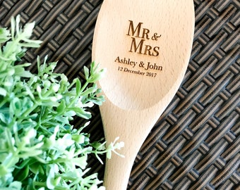 Personalised Engraved Wooden Spoon / Spatula / Fork - Wedding Favours , Cake Baking or Kitchen Gift