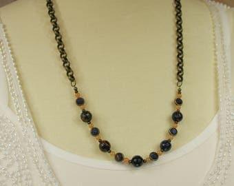 """Sodalite and Red Aventurine 26"""" Necklace - Gemstone Jewelry, Bohemian Necklace, Sundance Style Jewelry, Boho Gypsy Hippie Chakra"""