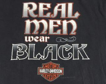 Vintage 1990 Harley Davidson motorcycles t-shirt mens L real men wear black
