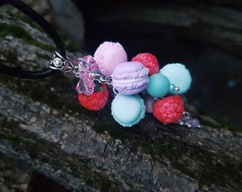 Colorful Macaron Set Necklace/ Macaron Jewelry/ Rainbow Macaron/Macaron Pendant/ French Pastry/Food Necklace/Food Jewelry/Violet-Pink-Pastry