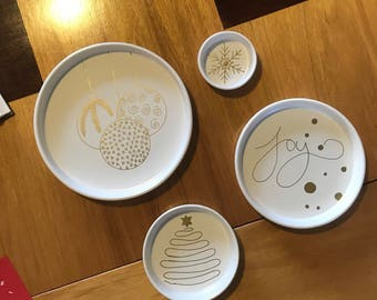 Christmas Nibble Serving Plates - set of 4 white