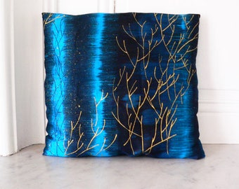 SOLD OUT!  Silk cushion pillow cover hand painted and hand-dyed, wild indian silk