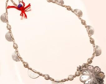 "vintage style gemstone silver necklace 16-18"""