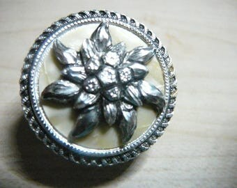 1960's Western Germany Dress Scarf Clip Edelweiss faux mother of pearl scarf clip / Flower scarf clip / Sweater clip