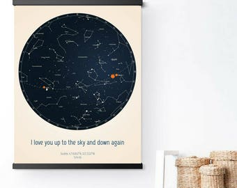 Custom Constellation. Celebrate birthday, wedding or engagement with a personalized star constellation.| Sky map | Scandi | Home decor