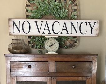 "No Vacancy sign, Rustic no vacancy sign, bed and breakfast sign, Guest bedroom sign, 40"" x 7.25"""