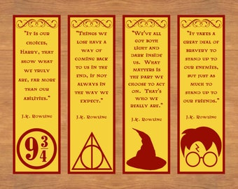Printable Bookmarks, Harry Potter Bookmarks, Printable Quote Bookmark, Set of 4, Instant Download, Reader Gift