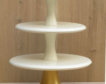 3 Tier Cupcake Stand 16/18/20 Solid Ivory and Gold Wedding Cupcake stand Tiered Wooden Ivory Gold Cupcake stand Large Wedding Cupcake stand