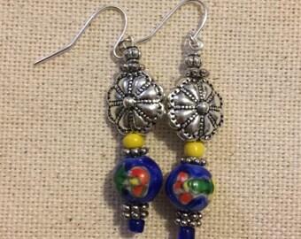 Floral watercolor earrings