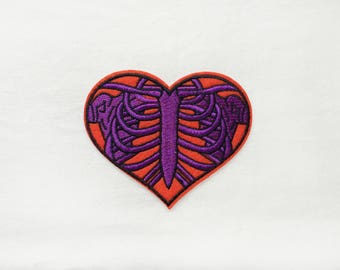 1x purple orange or white rib cage heart patch love anatomy rockabilly tattoo Iron On Embroidered Applique