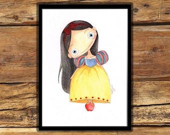 Snowhite stamp for kids,personalized stamp,princess stamp,illustration for kids.