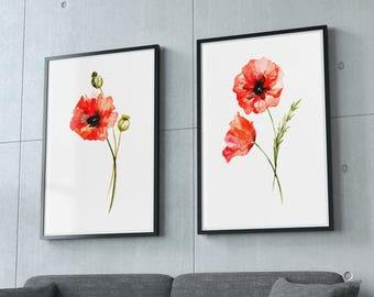 Red poppy watercolor wall art print, home decor set of 2 poppies,  art prints floral wall art, printable art