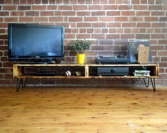 Large TV / Media unit in retro mid century style with hairpin legs and charred wood finish (Shou Sugi Ban)