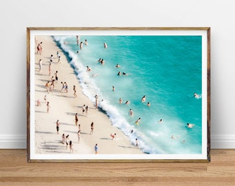 Beach Photography Aerial People on the Beach Art Aerial Beach Photo, People On Beach Photo Ocean Aerial Photography Digital Print Download