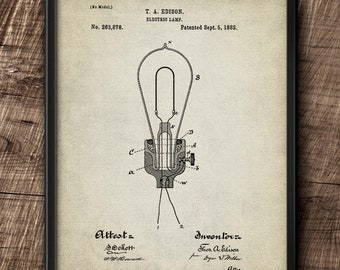Electric Lamp · Thomas Alva Edison · Patent · 1882 · Instant Download · Vintage · Printable #200