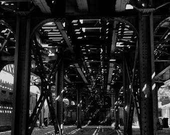 Black and White Photography, Urban Photography, Chicago - The Lights Below