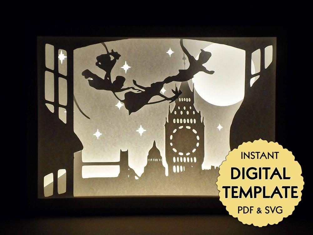 Template Peter Pan Paper Cut File Silhouette Light Box