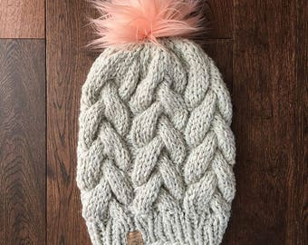Luxury Braided Cable Beanie // Light Grey and Peach // Hand Knit Chunky Hat // Faux Fur Pom Pom // Knit Hat // Cable Beanie // THE CAYLEY