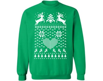 Christmas Deer Sweatshirt For Men and Women Christmas Deer Ugly Christmas Sweater Cute Christmas Deer Sweater Xmas Gifts For Him and Her