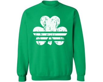 Striped Shamrock Sweatshirt Cool St. Patrick's Day Sweater for Men and Women Irish Clover Gifts for Him and Her St. Patrick's Lucky Outfits