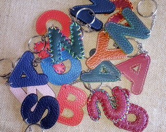 Hand-stitched, leather key letter alphabet, colorful, handmade, made in Italy