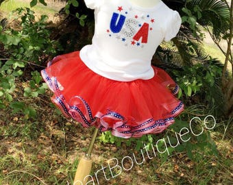 Patriotic unique skirt outfit.