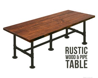 Farmhouse Table Rustic Wood U0026 Pipe Table Industrial Dining Table Urban Wood  Table, Reclaimed Appearance