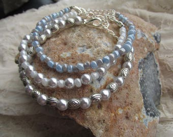 3 matching bracelets (Manoj, silver, blue)