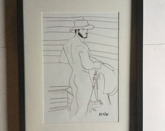 Drawing nude man ink of china Gay interest dessin homme nu encre de Chine