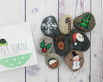 Christmas story stones, story telling set, christmas gift, unique gift, children's gift, handpainted gift, santa claus, rudolph, xmas