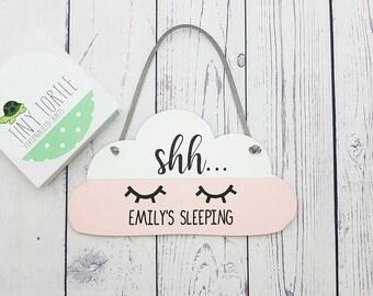 Baby sleeping sign, shh baby sleeping, personalised baby plaque, nursery decor, new baby gift.