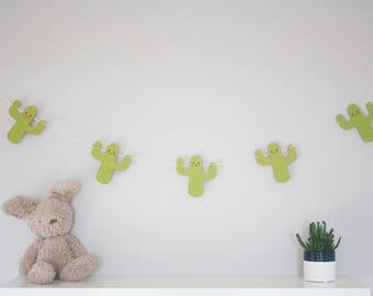 Cactus bunting, cactus garland, fun nursery decor, new baby gift, kids room, wooden bunting, playroom decor