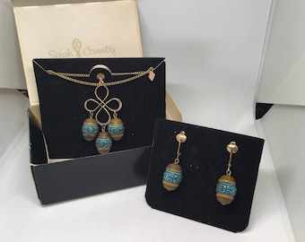 "Vintage Sarah Coventry 1974 ""Polka"" Necklace and Earring Set."