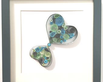 "Quilling!  PAPER-DESIGN ARTWORK  ""Two green hearts"""