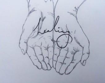 Sketch, hands, healing