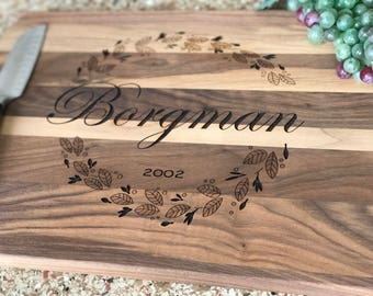Vine Laser Engraved Personalized Cutting Board Custom Cutting Board Wooden Cutting Board Housewarming Gift Wedding Gift Custom Gift