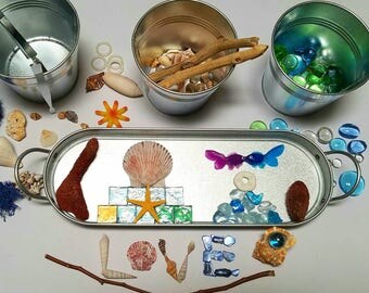 Ocean Inspired Loose Parts Open-ended Toy Reggio Emilia Under the Sea Tinker Tray Montessori Ocean Art Waldorf/ Charlotte Mason Nature Study