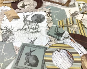 Scrapbook kit handmade, junk journal set, woodland paper ephemera, scrapbook embellishments, junk journal handmade