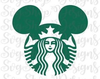 Starbucks Mickey Head Svg,Starbucks Cut File,Cricut Cut File, Silhouette Cut File, Starbucks Logo Svg,Starbucks Inspired,Vinyl Decal Party