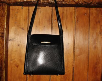 "A Very Good Vintage French ""Texier"" Black Leather Bag/ Shoulder Bag"